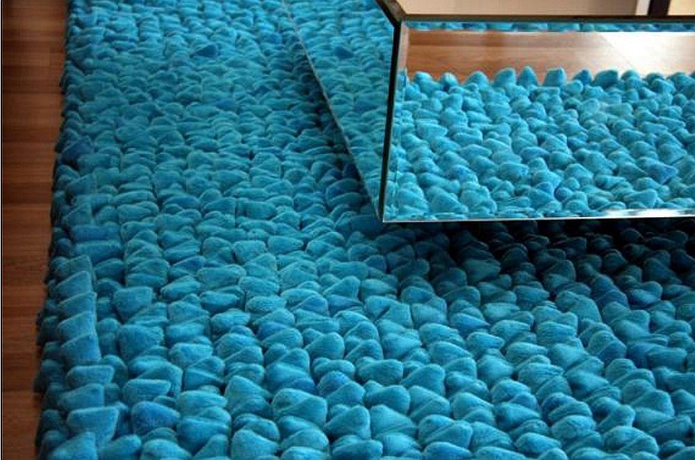 Luxury Extra Deep Thick Blue Pebble Rug