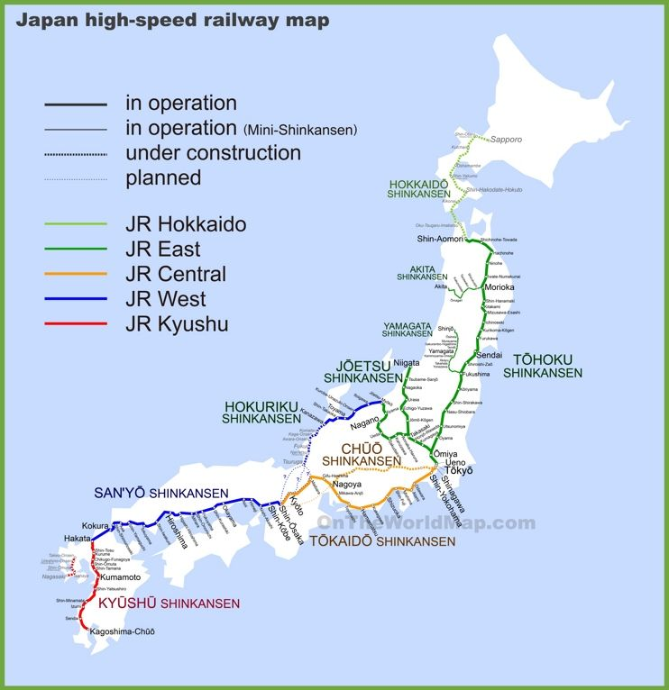 Japan high speed railway map Maps Pinterest High speed Japan