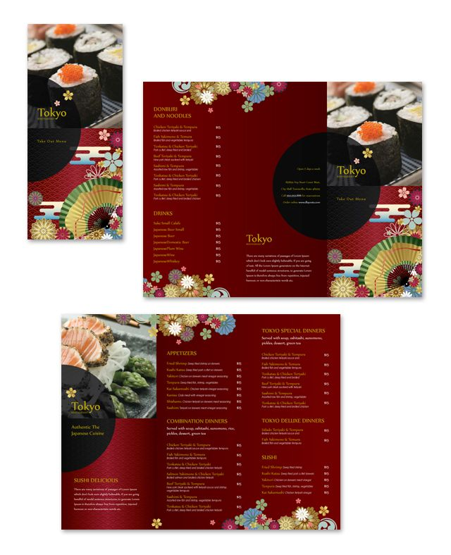 Japanese Restaurant Takeout Menu Template Graphic Design - Take out menu template free