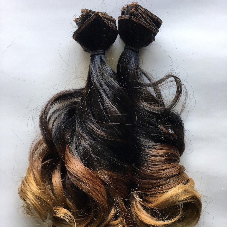 16 Inch Ombre Dark Brown Black Brown Auburn Blonde Clip Fade Clip In