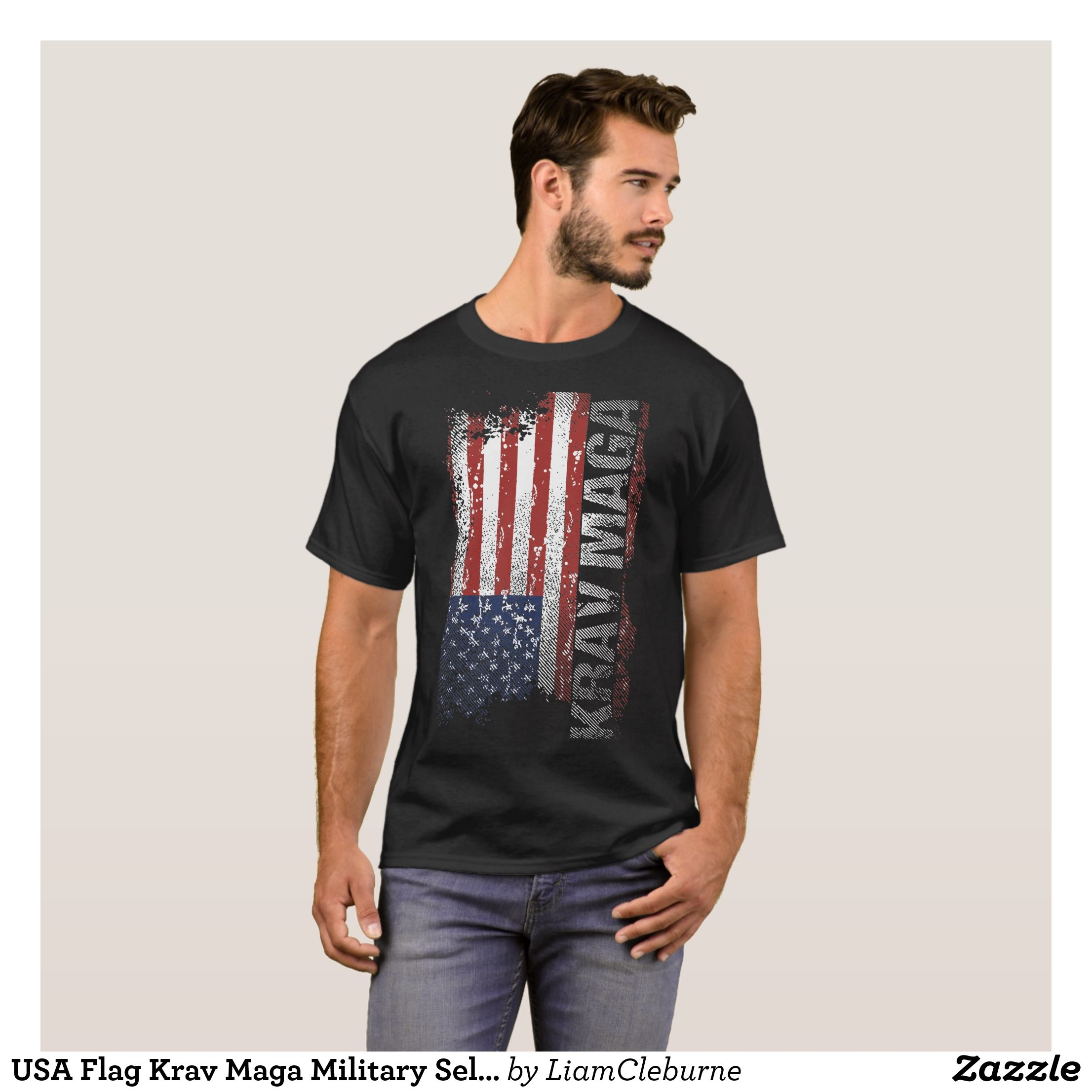 e706d1e754 USA Flag Krav Maga Military Self-Defense veteran t T-Shirt - Heavyweight Pre
