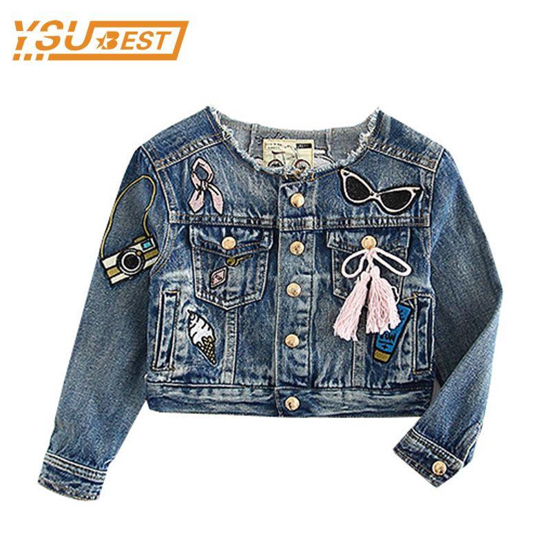 5368924cd Cheap 1 6Y Baby Girls Chaqueta de Ropa Para Niños 2017 Muchachas del  Resorte Jeans Coat Vaqueros de la Moda de Manga Larga de Mezclilla Bordada  Jackect Para ...