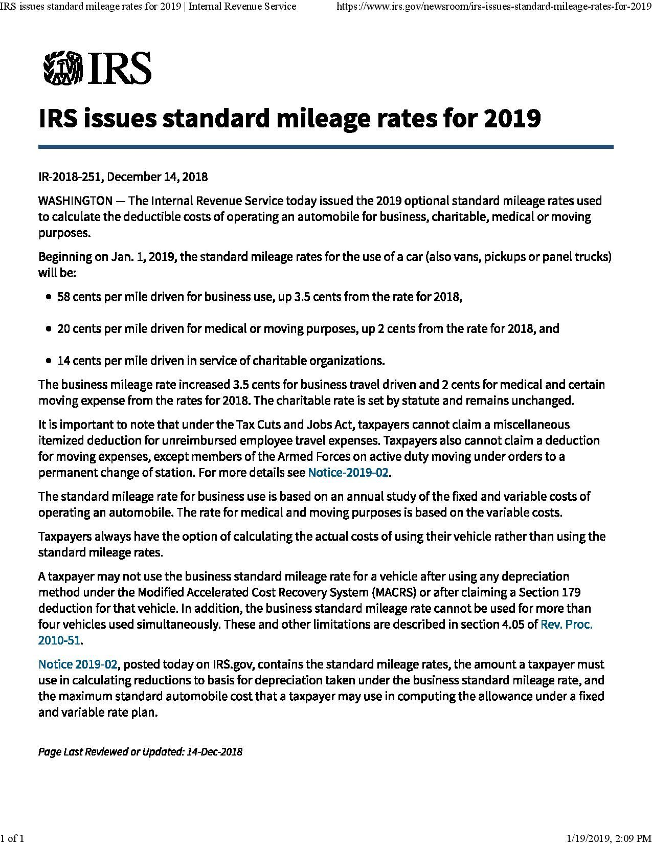 Irs Mileage Allowance >> Irs Standard Mileage Rates For 2019 Internal Revenue