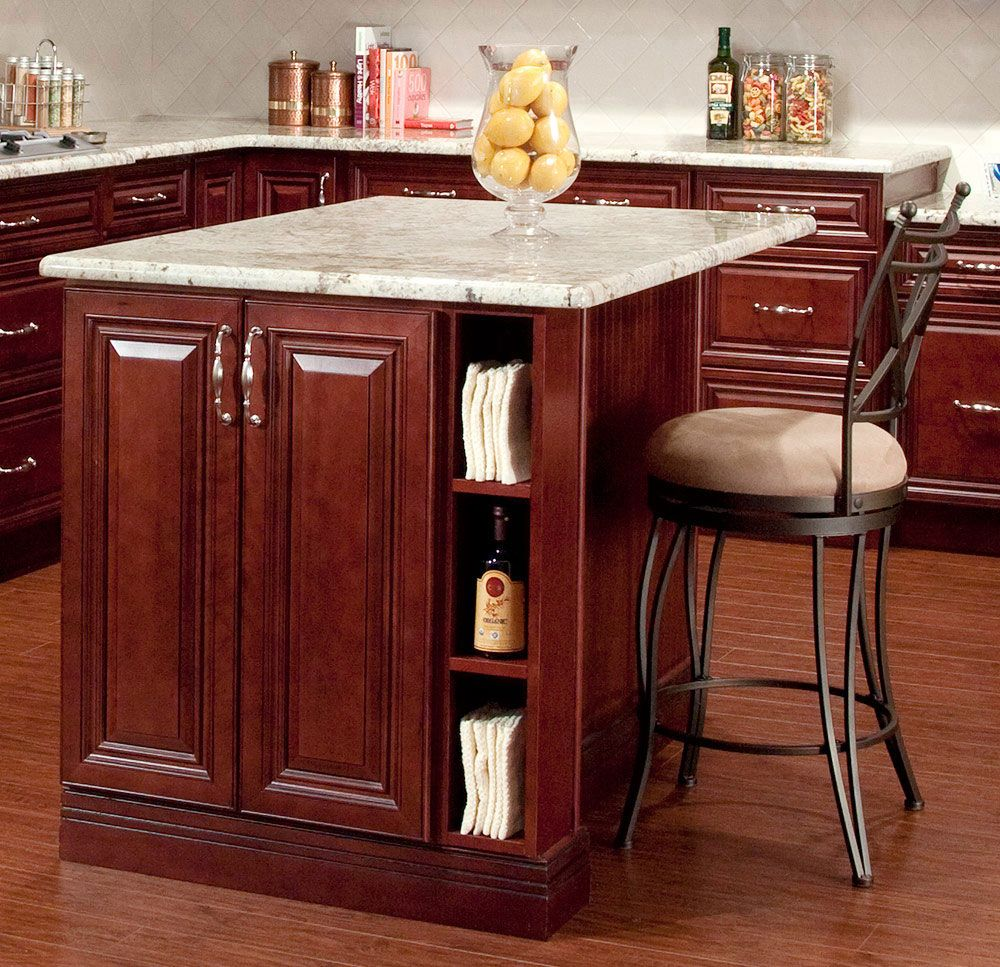 light counter top with Dark Cherry Kitchen Cabinets ...