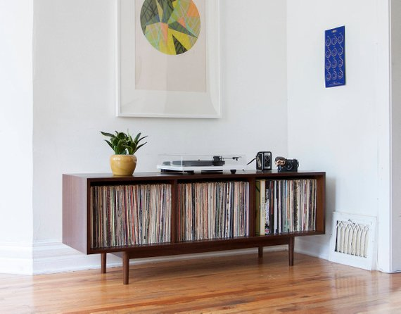 Mid Century Inspired Open Front Record Cabinet Perfect For People Looking To Store 300 Depending On Jac Record Storage Cabinet Record Cabinet Record Storage