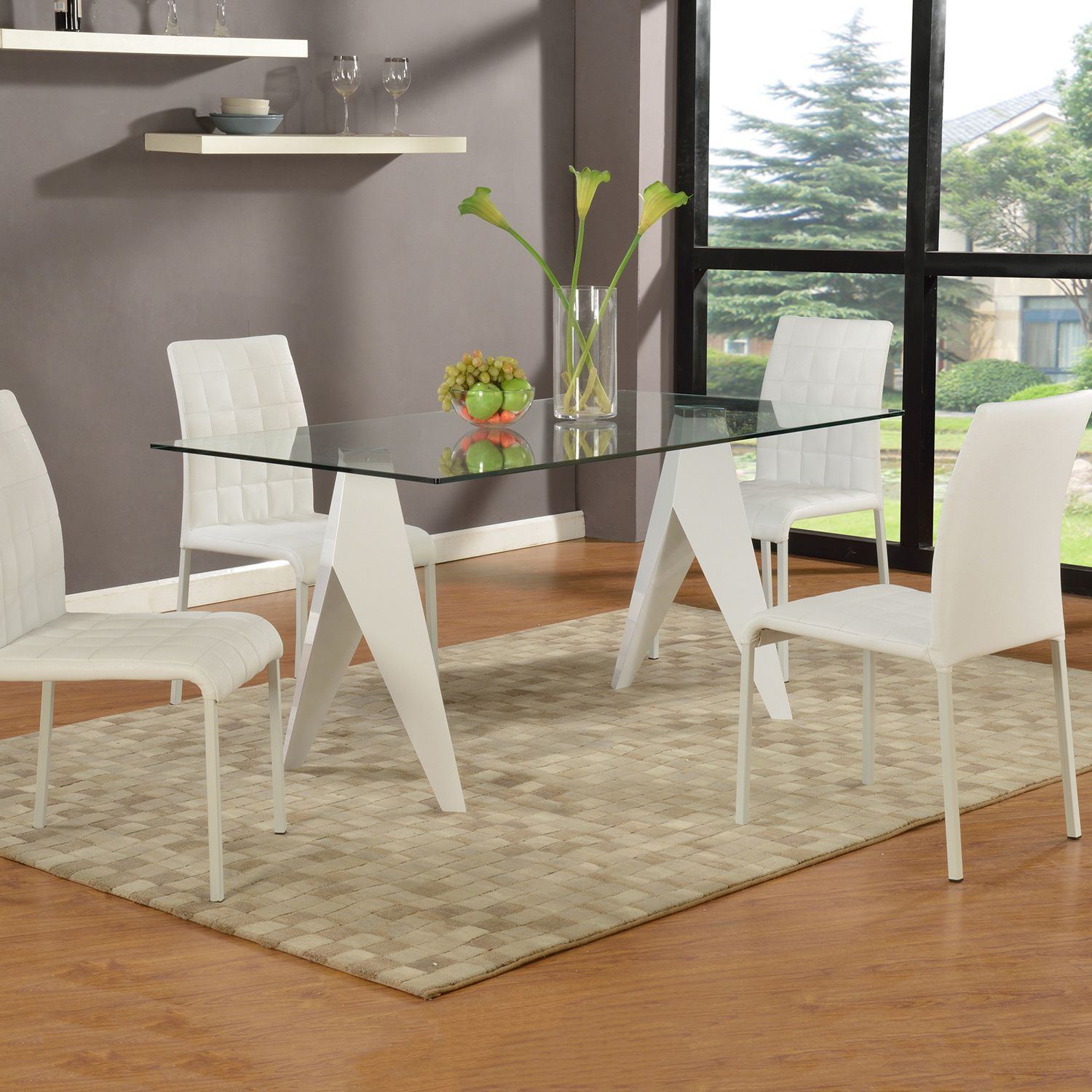 Somette ursula gloss white inch glass dining table ursula gloss