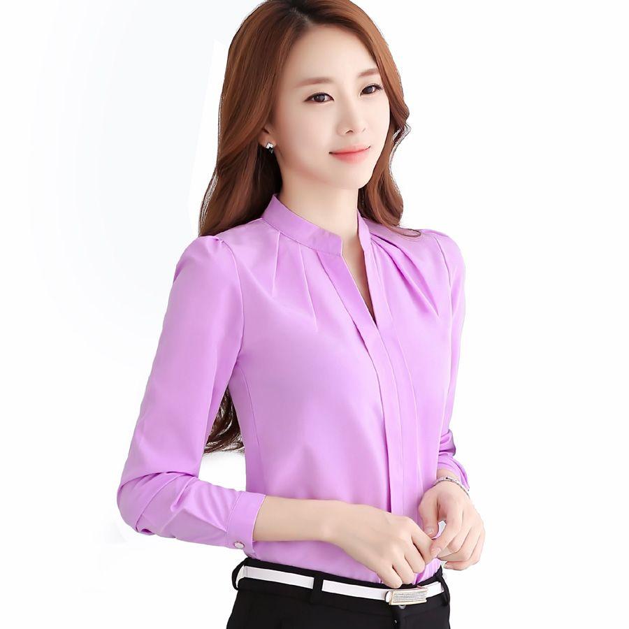 Chiffon blouses 2017 New Women shirt Fashion Casual Long-sleeved ...