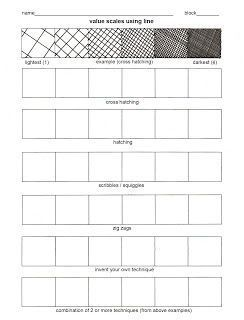 Practice worksheet for shading and value techniques | Pencil