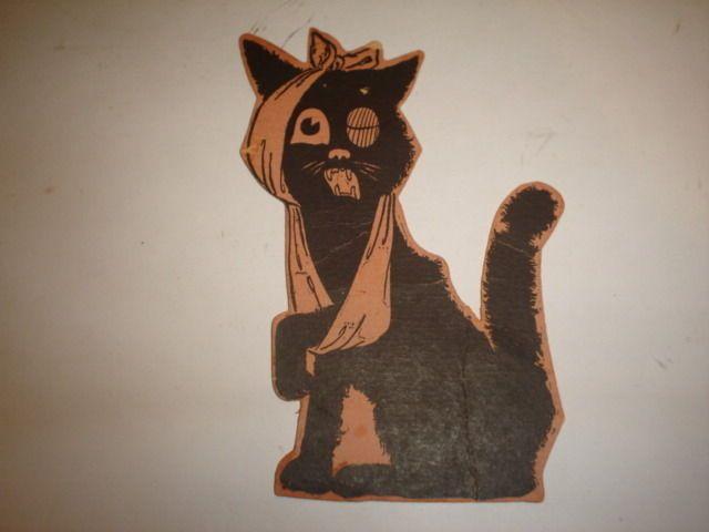 Old Vintage Halloween Cardboard Diecut Die Cut Out Injured Cat Dennison Beistle