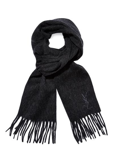 b02714dba01e3 NEED THIS! Wool Embroidered Logo Scarf by YSL at Gilt