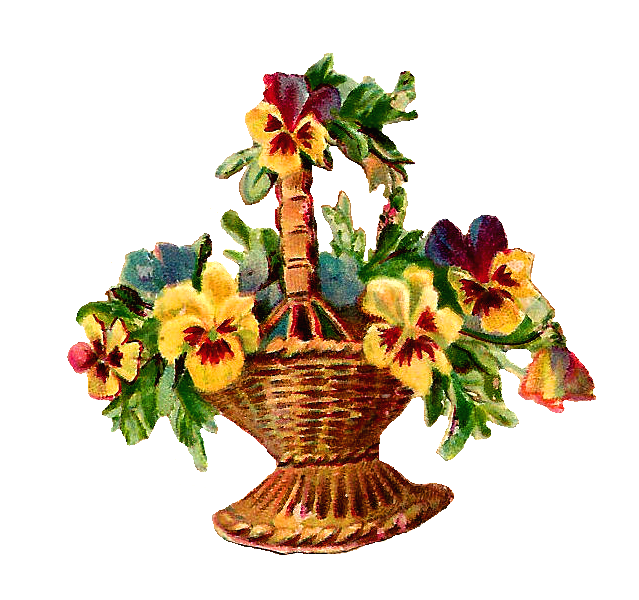 Drawings Of Flower Baskets : Antique images free vintage digital flower basket clip