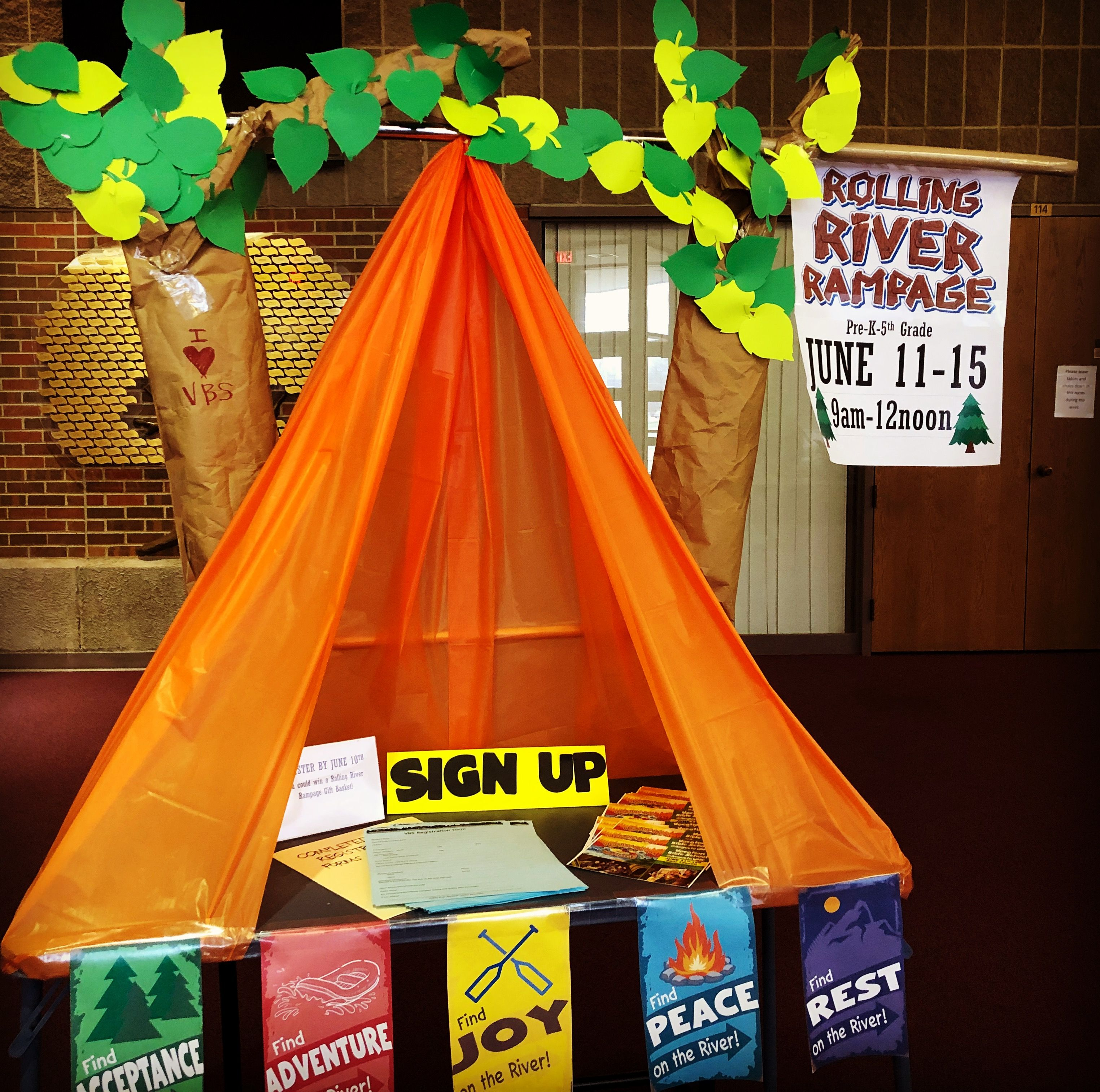 Rolling River Rampage Vbs Sign Up Table At Augusta United
