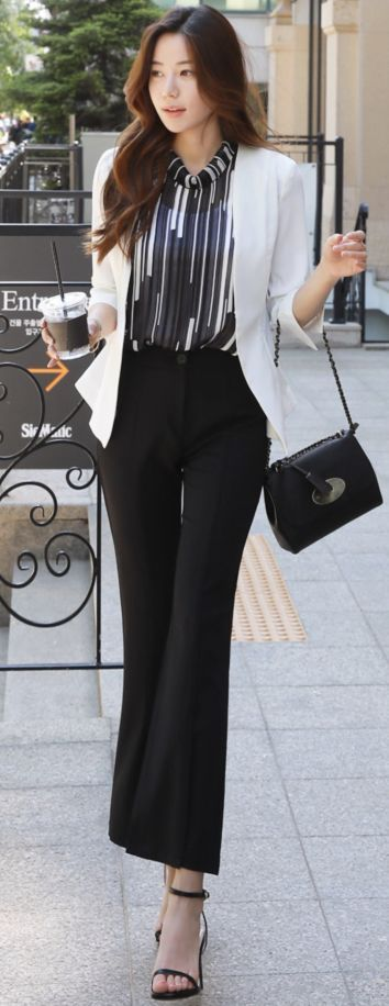 #BootCut #Front #korean Church Dress #Slacks #Slit Front Slit Boot-Cut Slacks        StyleOnme_Front Slit Boot-Cut Slacks #black #bootcut #dresspants #slacks #koreanfashion #kstyle #kfashion #summertrend #officelook #churchoutfitfall