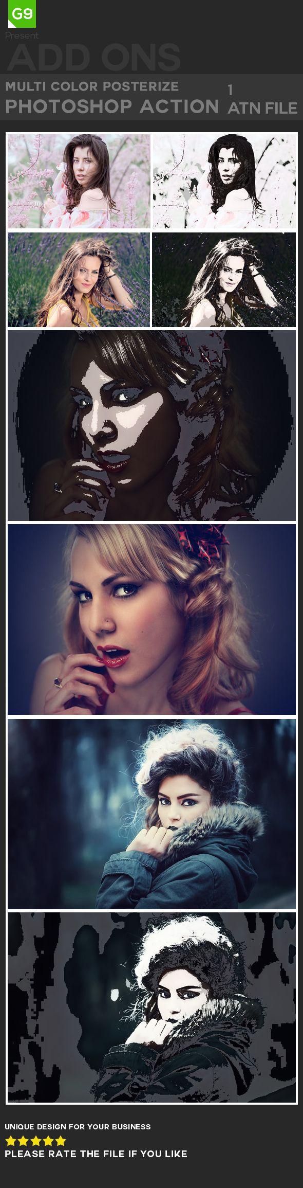Multi-Color Posterize #Photoshop #Action | Photoshop | Photoshop