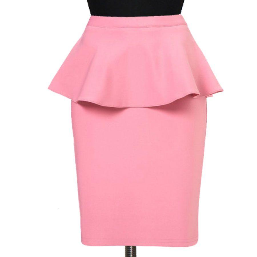 8adf7fb424 Guava Peplum Pencil Skirt, Custom Fit, Handmade, Fully Lined, Linen ...