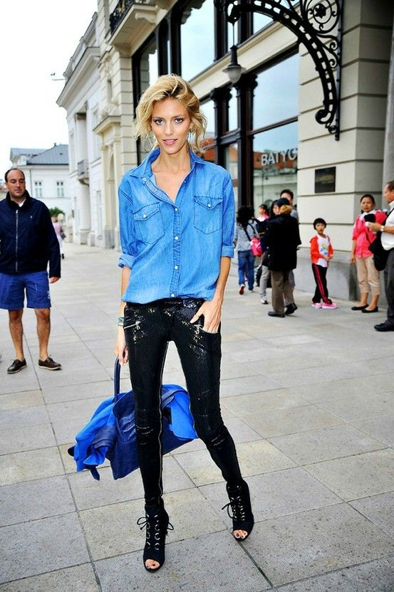 the denim shirt. steal it from your lover and team it with anything.. looks great with bare legs too!