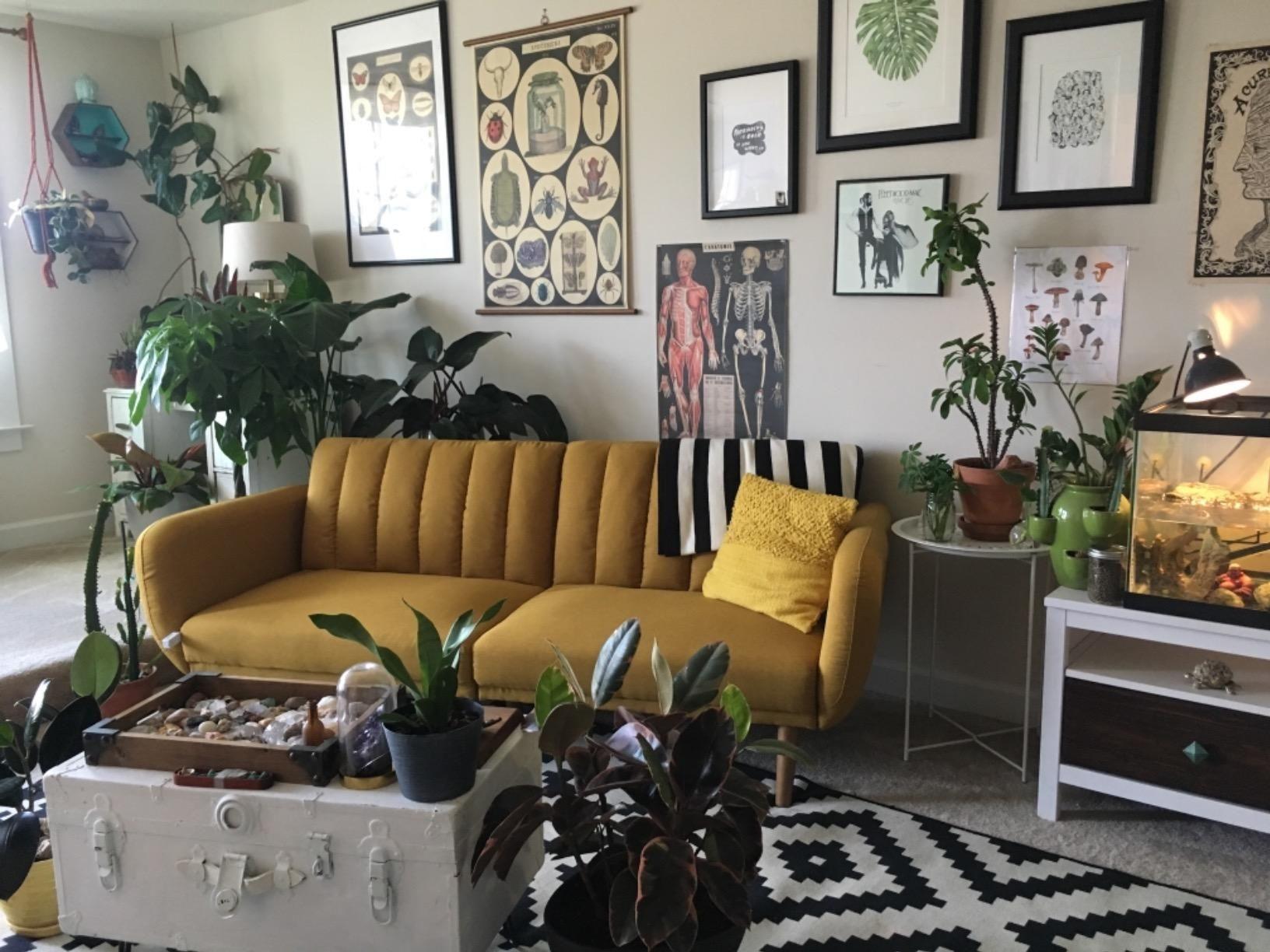Amazon Com Novogratz Brittany Sofa Futon Premium Linen Upholstery And Wooden Legs Mustard Linen Kitchen Futon Sofa Cozy Reading Corners Linen Upholstery