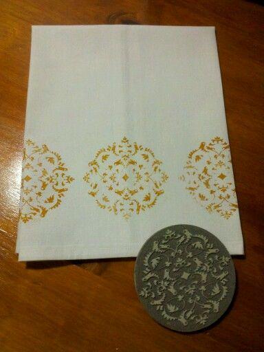 Napkins hand stamped - toalla de cocina 100 % algodón estampada a mano