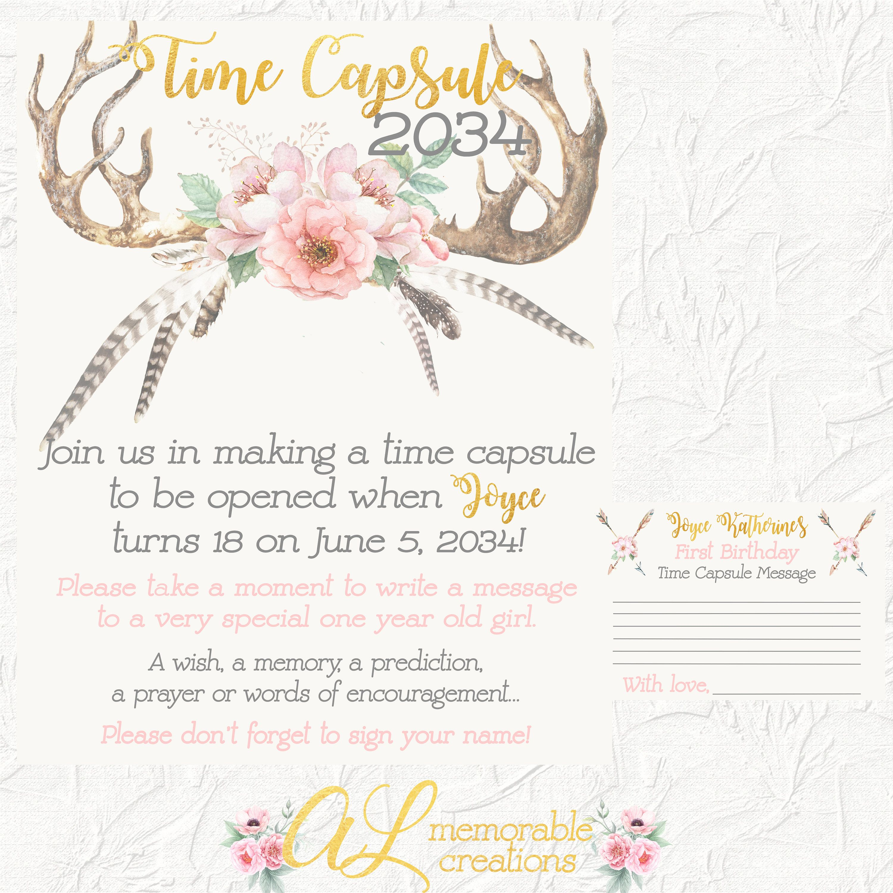 Boho Time Capsule, First Birthday, Time Capsule Sign, Floral Time ...