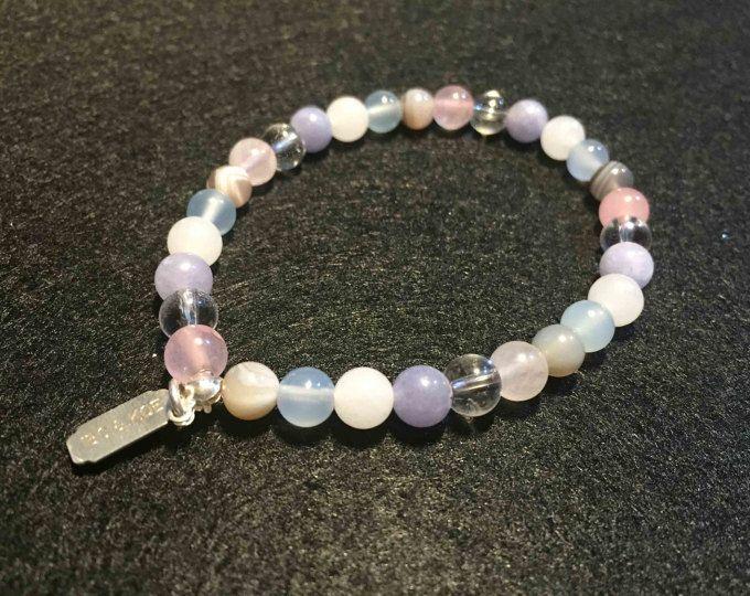 Bracelet Funchal- Quartz rose/Pierre lune/ Calcédoine/Agate/ Aigue marine/ Cristal de roche - lithothérapie- 6 mm - Adulte - Modèle unique
