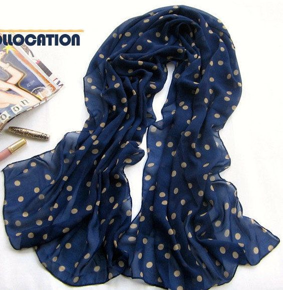 Blue and White Polka Dot Scarf by ainsliee on Etsy, $15.00