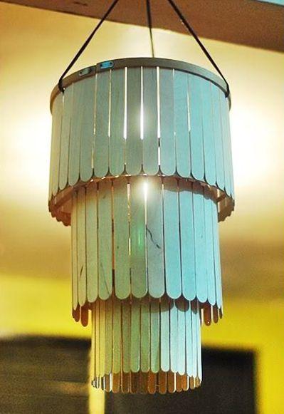 Diy Chandelier Face Off Lighting Decor Blog Lamps Com Diy Popsicle Stick Crafts Popsicle Stick Diy Diy Chandelier