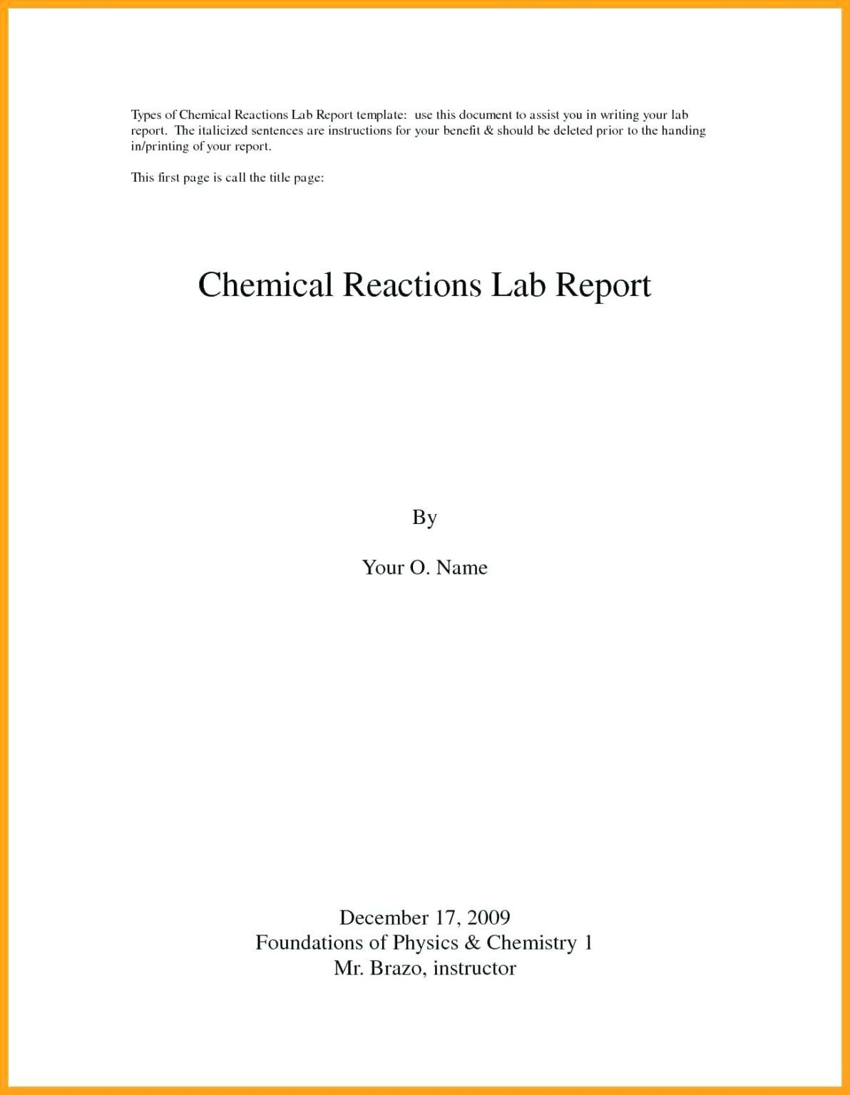 Lab Report Cover Page - The Lab Report  Writing Advice