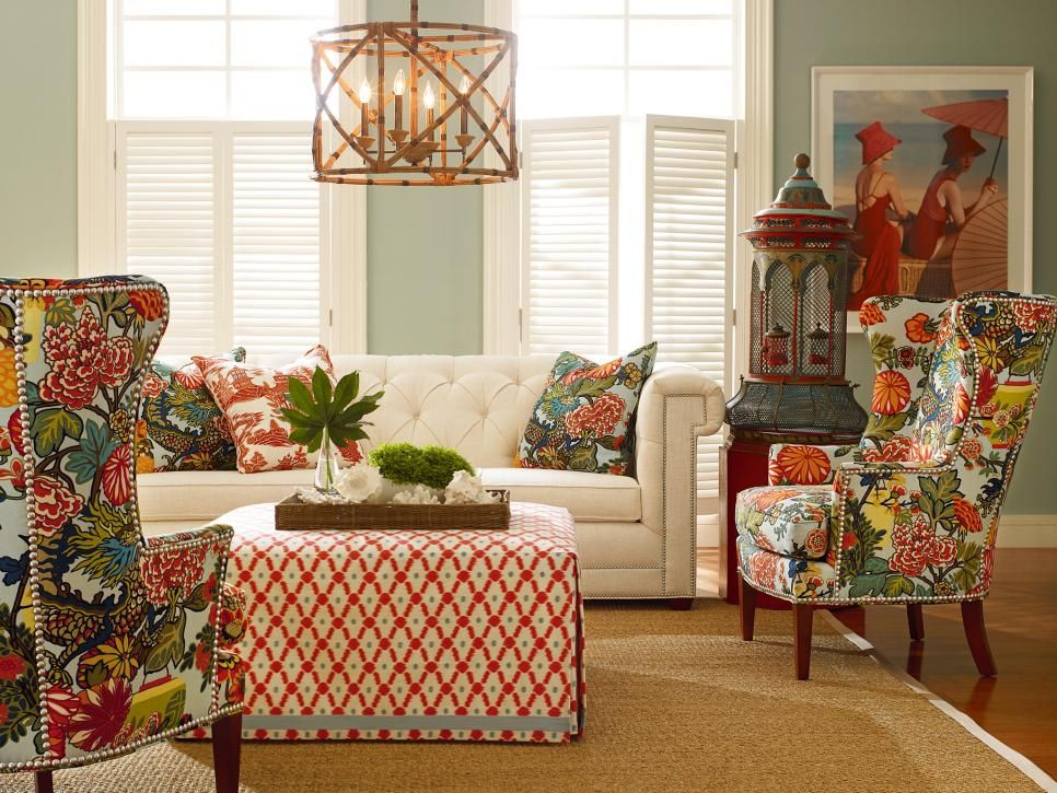 Bold Patterns And Bright Colors Take Center Stage In This Tropical Inspired  Living Room.