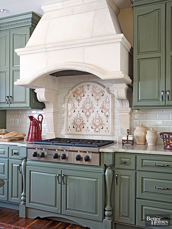 The Ornate Mosaic Tile Installation Above This Cooktop Evokes Country French Style With An Edge Focal Point Delivers Flourishes Of Pink That Pick Up