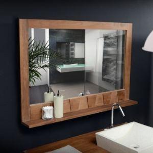 miroir en bois de teck massif 100x70