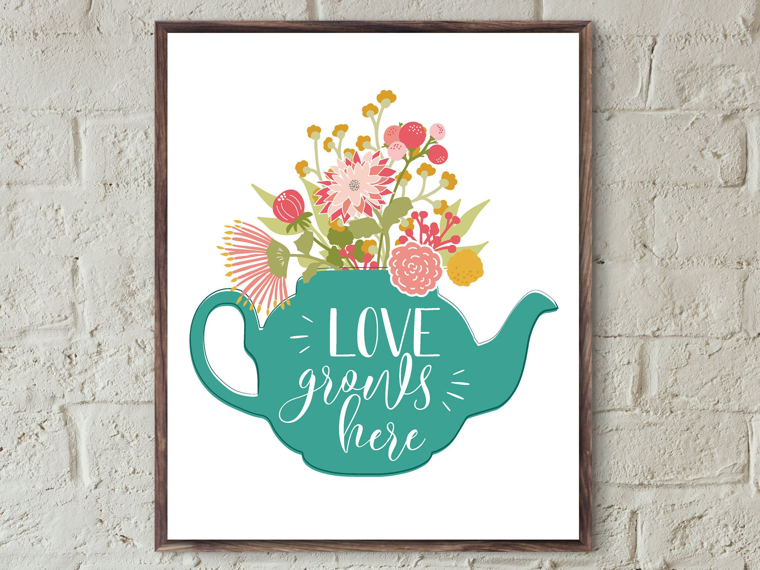 Printable art love grows here love quote print family print wall art ...