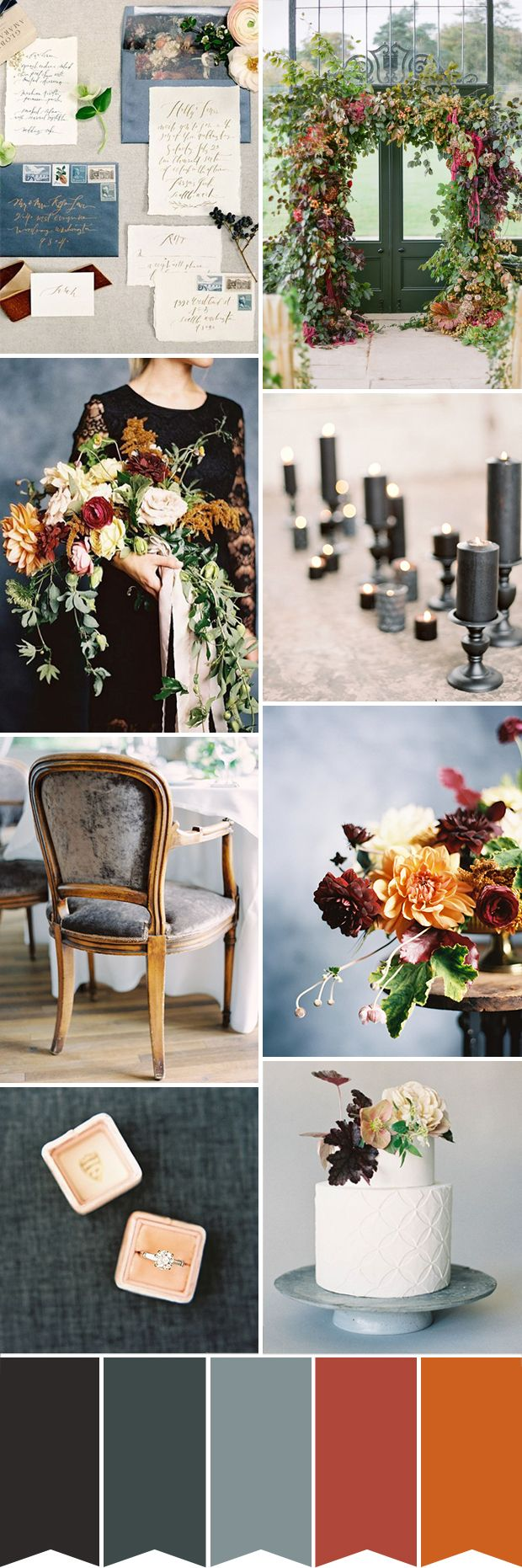Black Blue and Rust Colour Palette   Wedding table ...