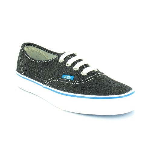83b32d40a43164 Vans Authentic NJV54E Unisex Canvas 4-Eyelet Deck Shoes - Washed Denim  Black   White £50