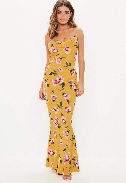 f0964baa796b4 Mustard Floral Cowl Neck Maxi Dress in 2019 | Products | Dresses ...