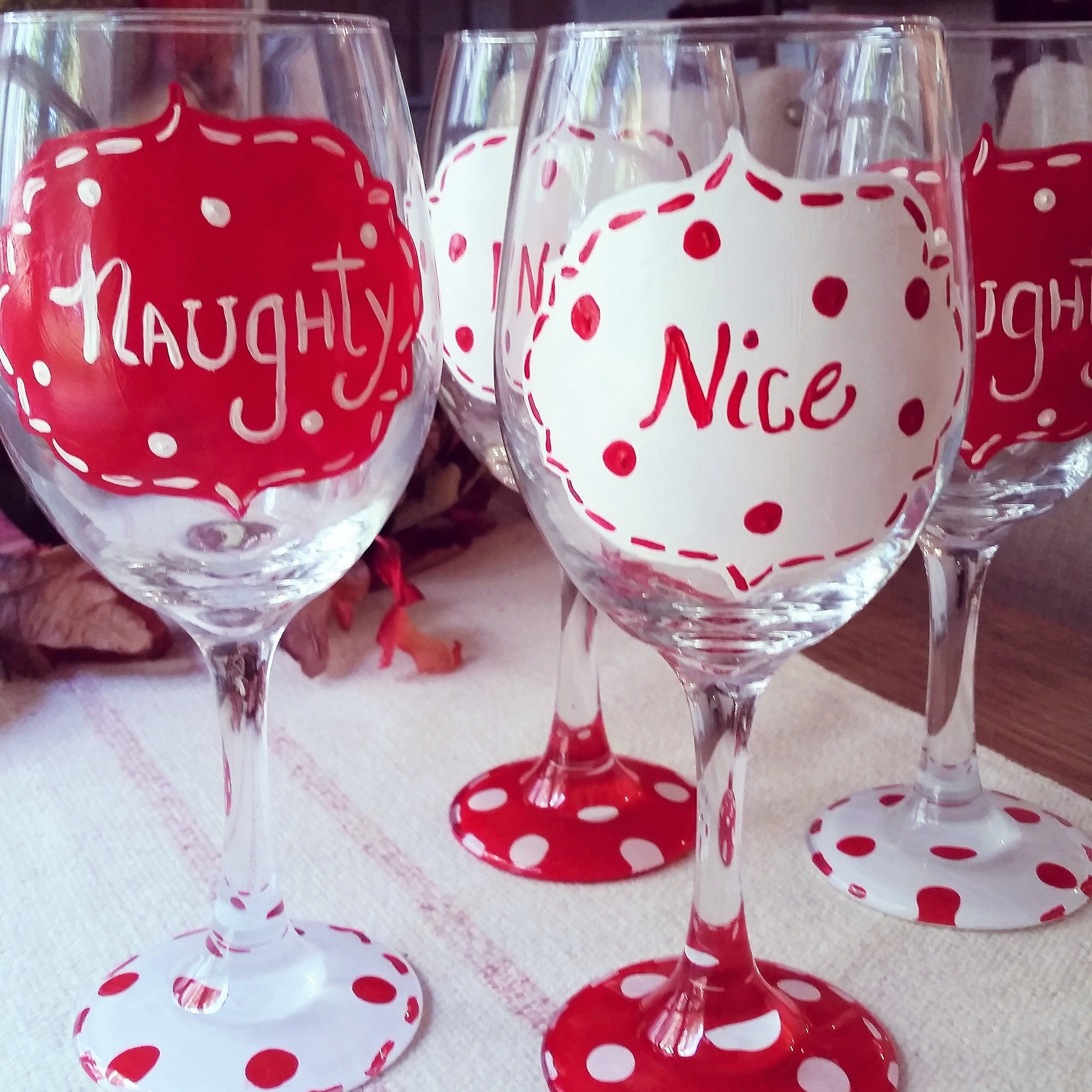 Naughty Or Nice Hand Painted Wine Glasses Pair Of 2 By Interiorlandscapes On Etsy Hand Painted Wine Glasses Painted Wine Glasses Wine Glasses