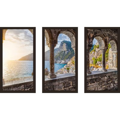 "PicturePerfectInternational 'Chiesa di San Pietro, Italy' 3 Piece Framed Photographic Print Set Size: 33.5"" H x 52.5"" W x 1"" D"