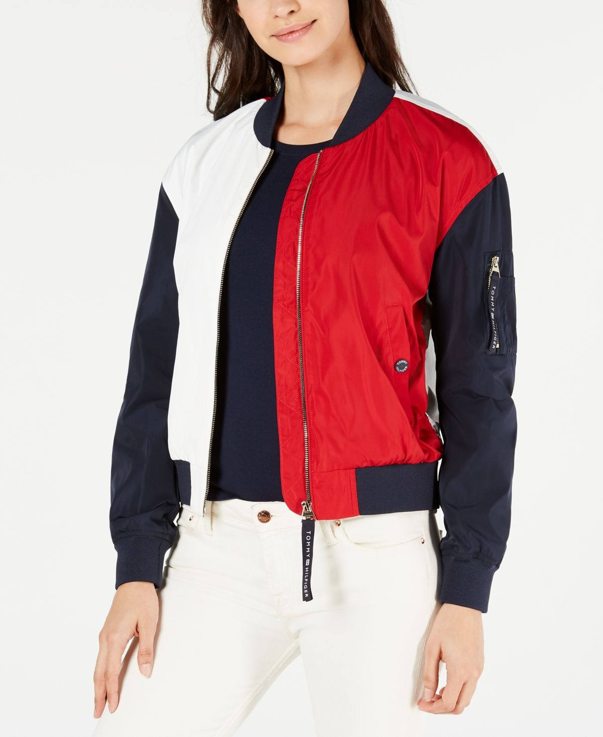 Tommy Hilfiger Colorblocked Bomber Jacket Created For Macy S Red White Blue Blazer Jackets For Women Bomber Jacket Shopping Outfit [ 1466 x 1200 Pixel ]