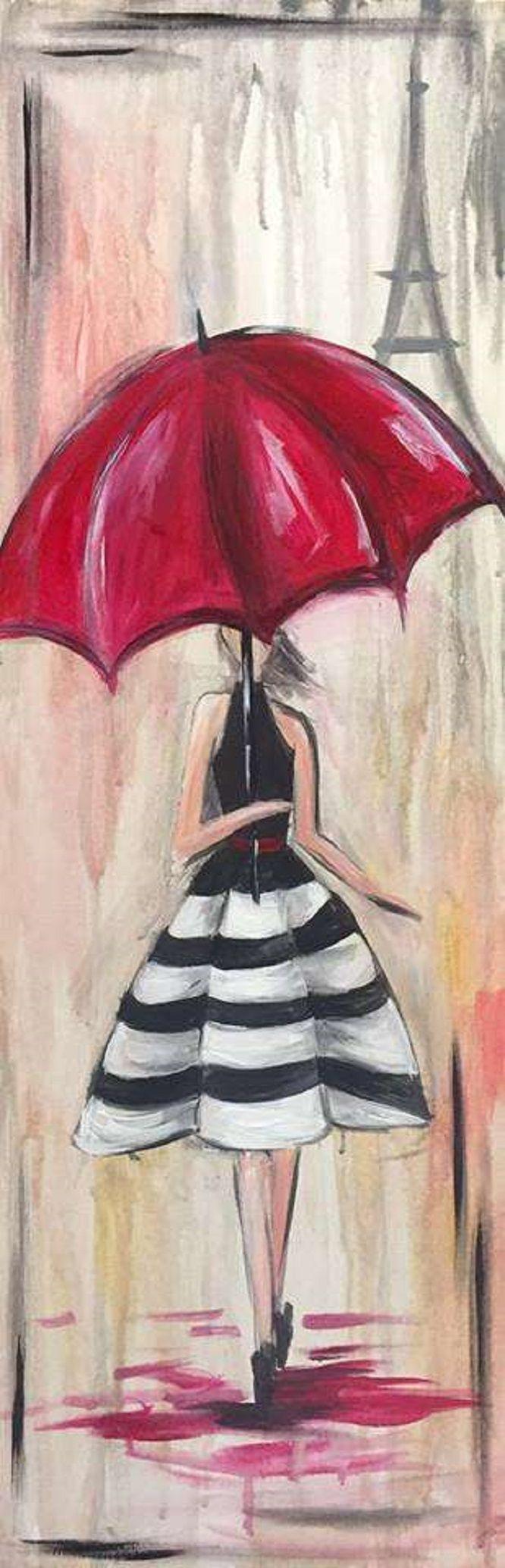Paris In The Rain Ladies Night Out Idea Paintandsip Bacheloretteparty Https Www Pinotspalette Co Canvas Art Painting Amazing Art Painting Art Painting