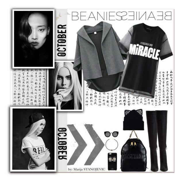 """""""BEANIESEINAEB"""" by marijastanojevic ❤ liked on Polyvore featuring Jacquie Aiche, Quay, Kate Spade, Cole Haan, Chicnova Fashion, Silver Spoon Attire, Moschino, women's clothing, women and female"""
