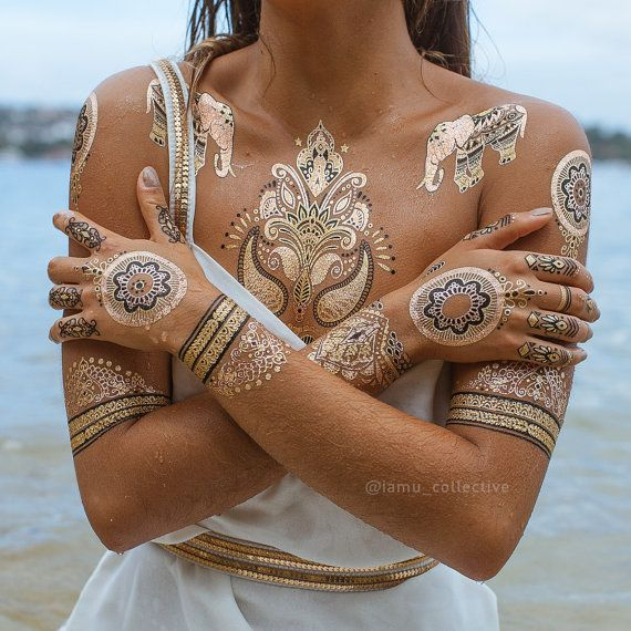 Metallic Temporary Tattoo Henna Tattoo Festival Temporary Tattoos Gold Tattoos Flash Tattoos Temp Metallic Tattoo Temporary Gold Tattoo Henna Flash Tattoo