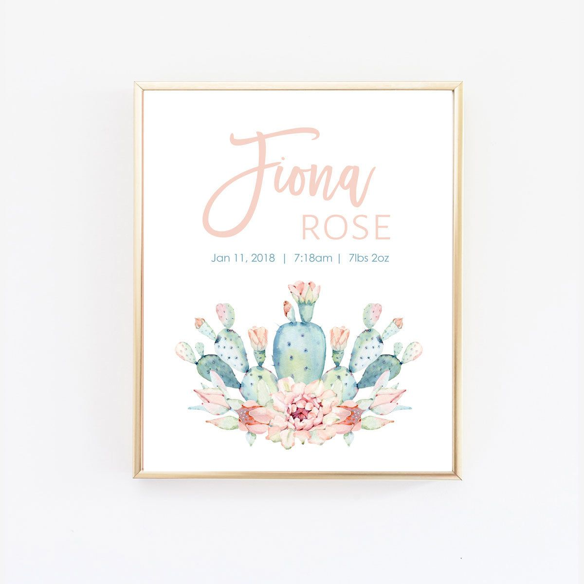 Cactus nursery art personalized baby gift baby name