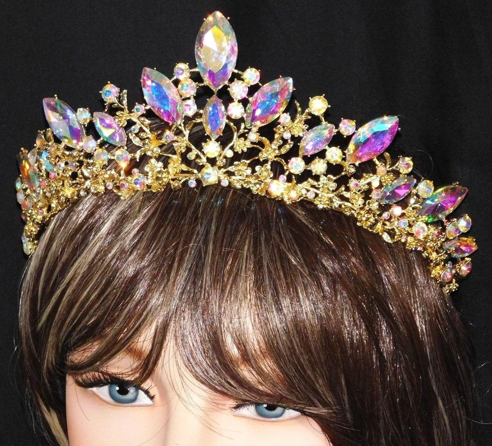 Hairstyles With Crown Queen: Details About Crystal AB Red Gold Hairpiece Crown Tiara
