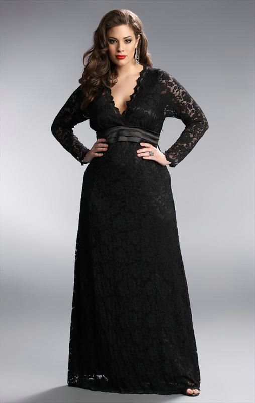 black lace long sleeve plus size formal dresses | plunging