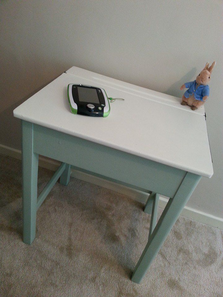 Old School Desk With Lift Up Lid Painted In Laura Ashley Eau De Nil Old School Desks School Desks Upcycled Furniture
