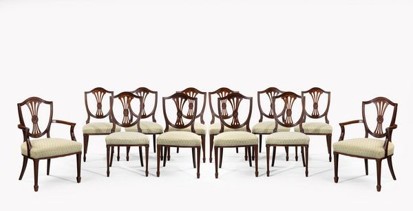 Set Of 10 8 2 Hepplewhite Style Mahogany Dining Chairs A Good And Sy