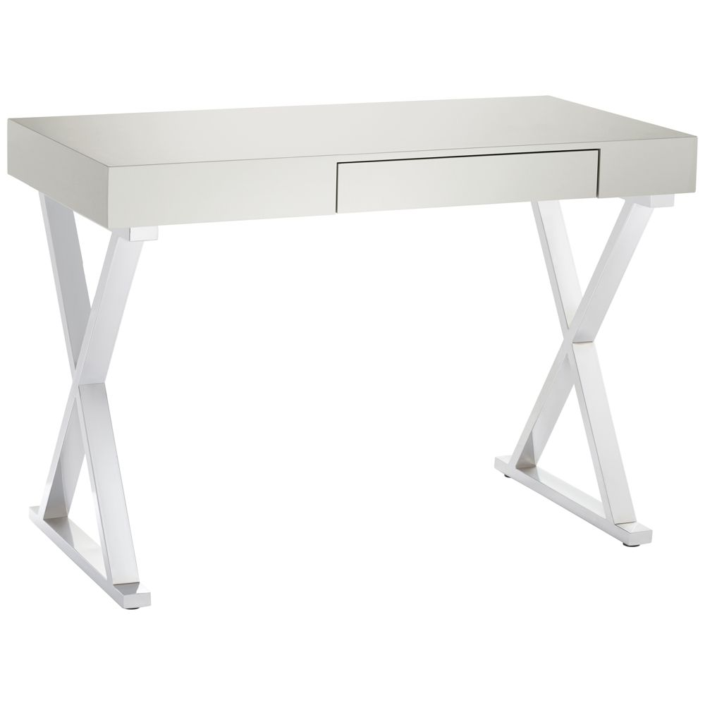 chrome office desk. Luster Glossy Gray Wood And Chrome Office Desk - Style # 1Y255