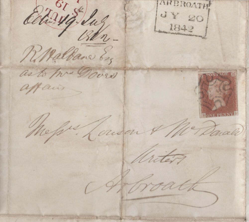 1842 Qv Edinburgh Cover Mx Maltese Cross With A 1d Penny Red