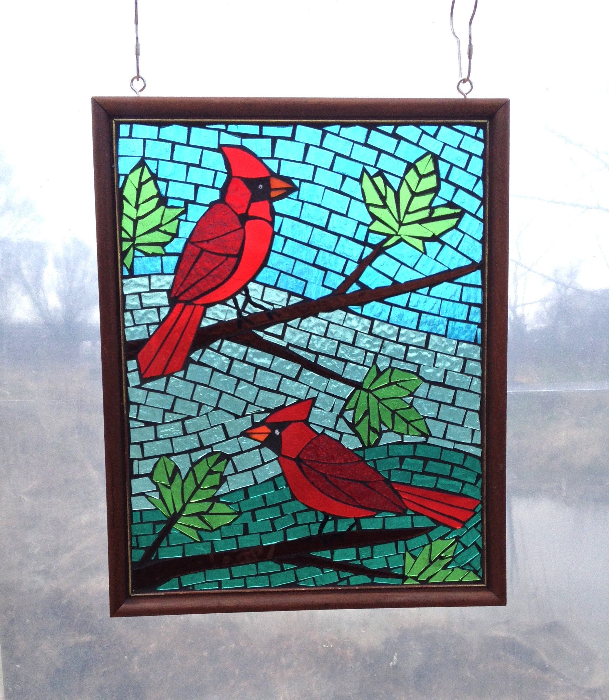 Stained Glass Red Cardinal Birds In A Maple Tree Mosaic