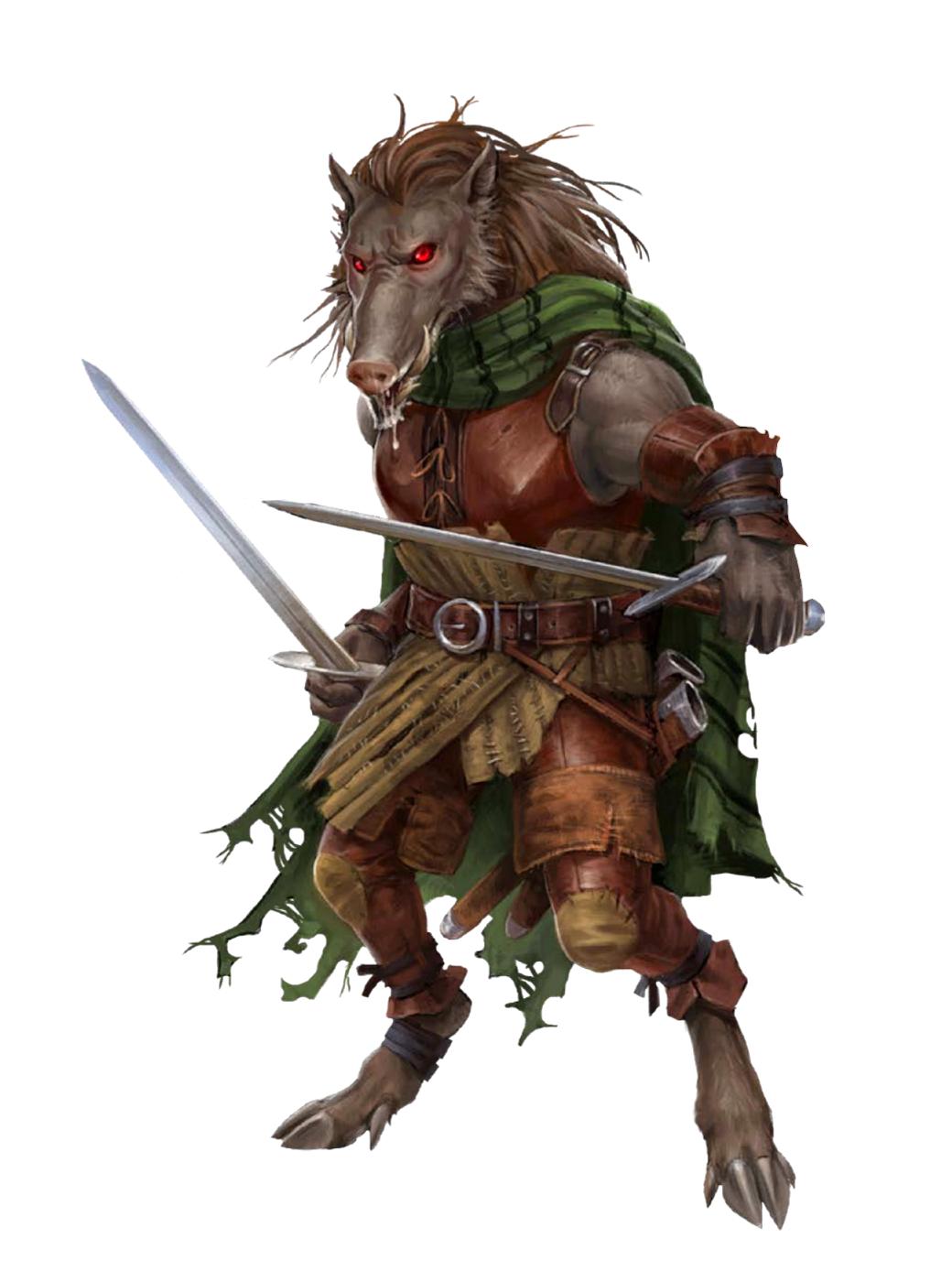 Wereboar Ranger Shadow Folk Character Art Fantasy Races