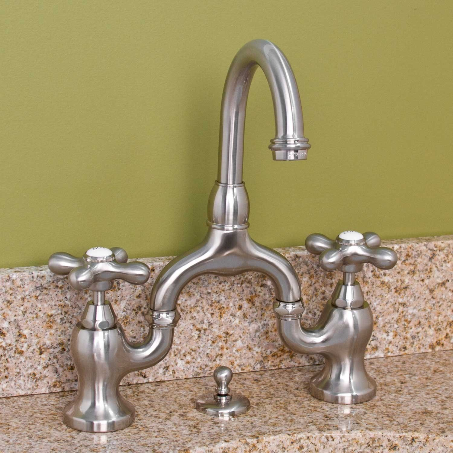Ponticello Bridge Bathroom Faucet with Large Metal Cross Handles - Bathroom Sink Faucets - Bathroom